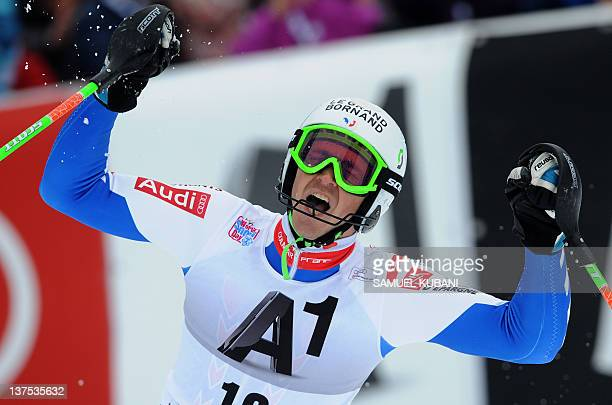 Steve Missillier of France reacts in the finish area during the men's slalom in FIS Alpine skiing World cup in Kitzbuehel on January 22 2012 AFP...