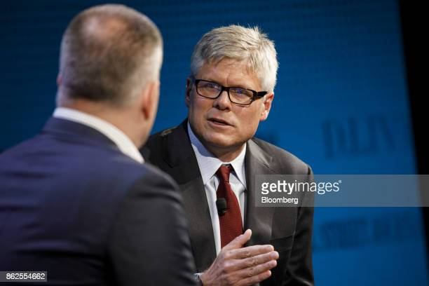 Steve Mollenkopf chief executive officer of Qualcomm Inc speaks during the Wall Street Journal DLive global technology conference in Laguna Beach...