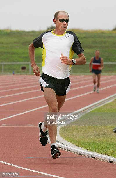 Steve Moneghetti of Ballarat wins the 300metres at the open day at Brauerander Park at Warrnambool in Victoria
