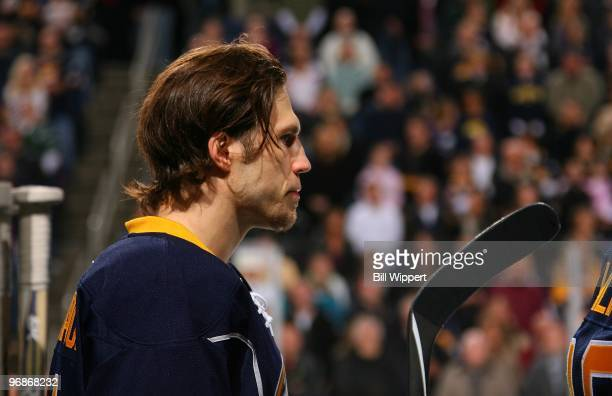 Steve Montador of the Buffalo Sabres listens to the National Anthem before playing the San Jose Sharks on February 13 2010 at HSBC Arena in Buffalo...