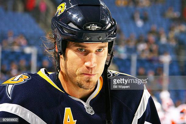 Steve Montador of the Buffalo Sabres warms up to play the New York Islanders on November 4 2009 at HSBC Arena in Buffalo New York