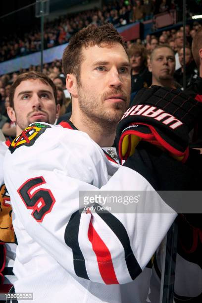 Steve Montador of the Chicago Blackhawks stands for the national anthems before a game against the Edmonton Oilers at Rexall Place on February 2 2012...