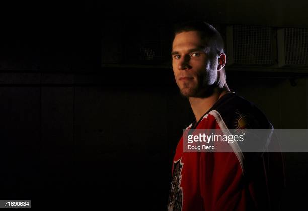 Steve Montador of the Florida Panthers poses during a portrait session at Bank Atlantic Center on September 14 2006 in Sunrise Florida