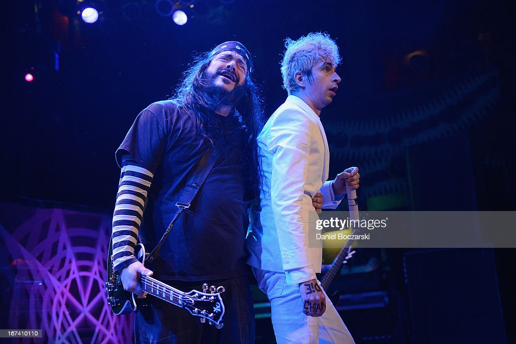 Steve Montano aka Steve, Righ? and Jimmy Urine of Mindless Self Indulgence perform on stage at House Of Blues Chicago on April 24, 2013 in Chicago, Illinois.