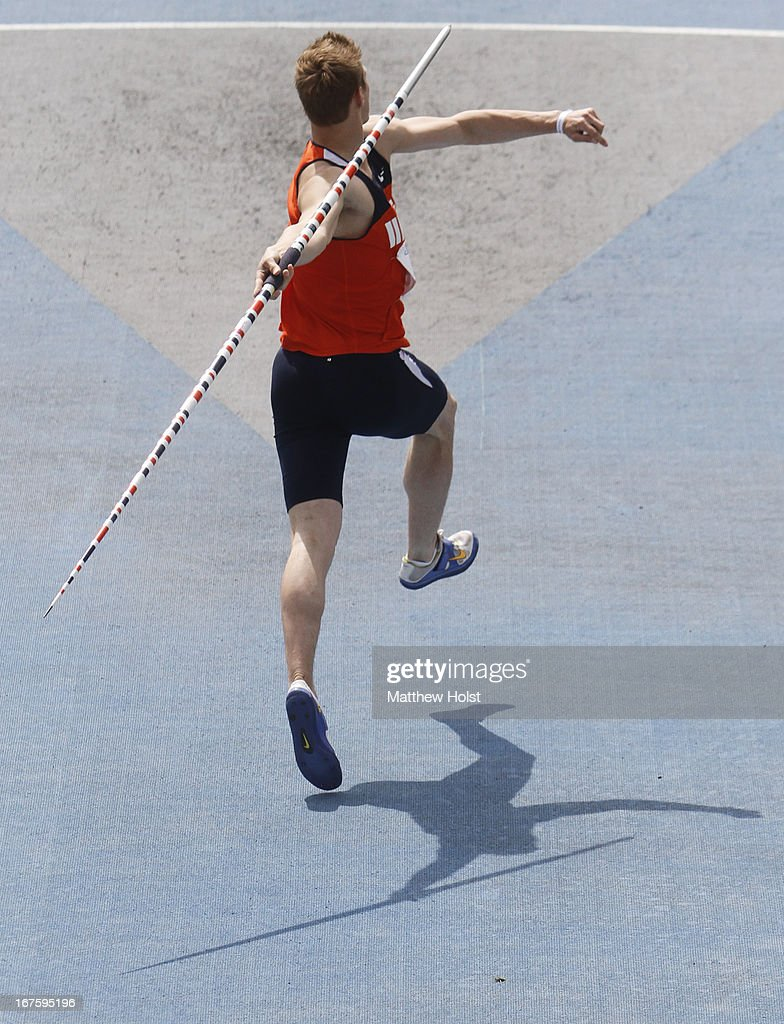 Steve Monte of the Illinois Illini competes in the Men's javelin throw at the Drake Relays, on April 26, 2013 at Drake Stadium, in Des Moines, Iowa.
