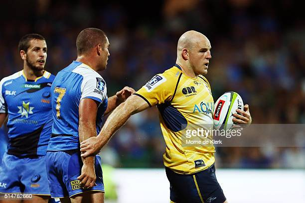 Steve Moore of the Brumbies hold onto the ball after a penalty was awarded to the Force during the round three Super Rugby match between the Western...