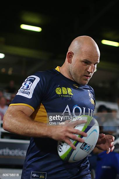 Steve Moore of the Brumbies runs out for the Super Rugby PreSeason match between the Reds and the Brumbies at Ballymore Stadium on February 12 2016...