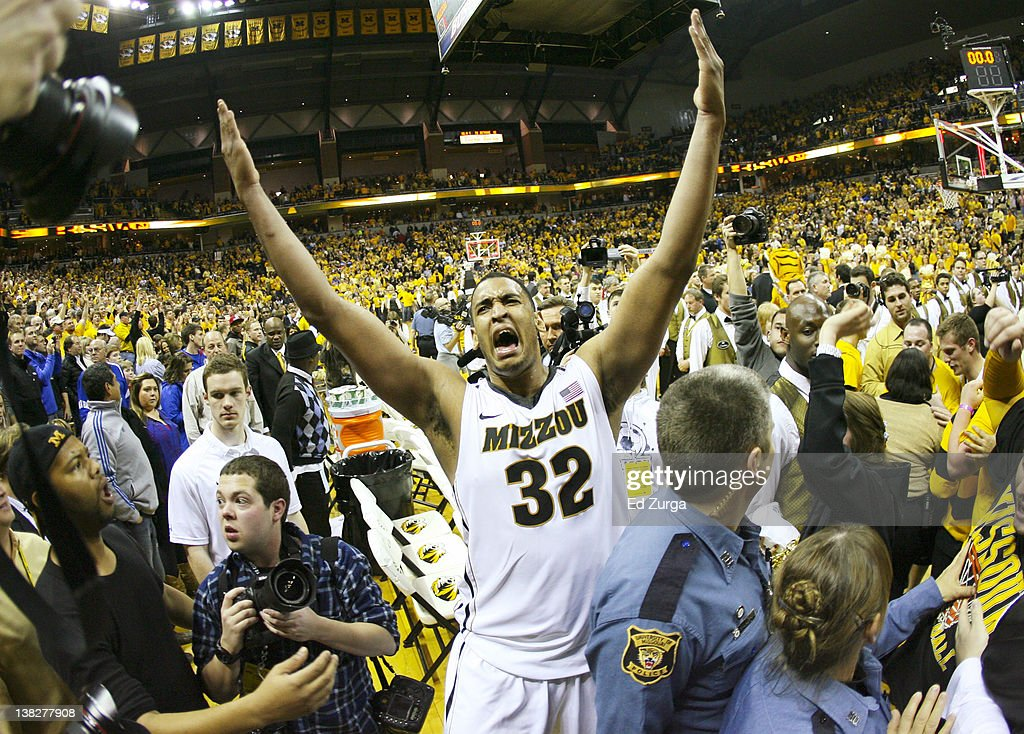 Steve Moore of the Missouri Tigers celebrates a 7471 win over the Kansas Jayhawks at Mizzou Arena on February 4 2012 in Columbia Missouri