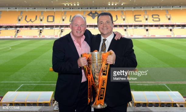 Steve Morgan the owner / chairman of Wolverhampton Wanderers and Jez Moxey the CEO of Wolverhampton Wanderers celebrate winning the league One title...
