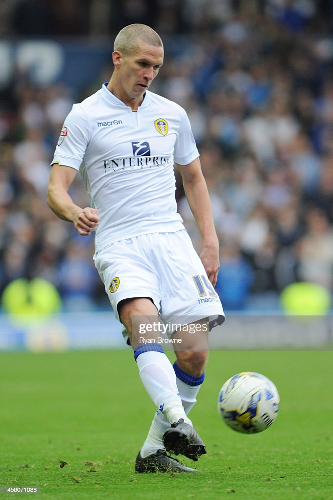 Steve Morison of Leeds during Sky Bet Championship match between Leeds United and Huddersfield Town at Elland Road Stadium on September 20, 2014 in Leeds, United Kingdom.