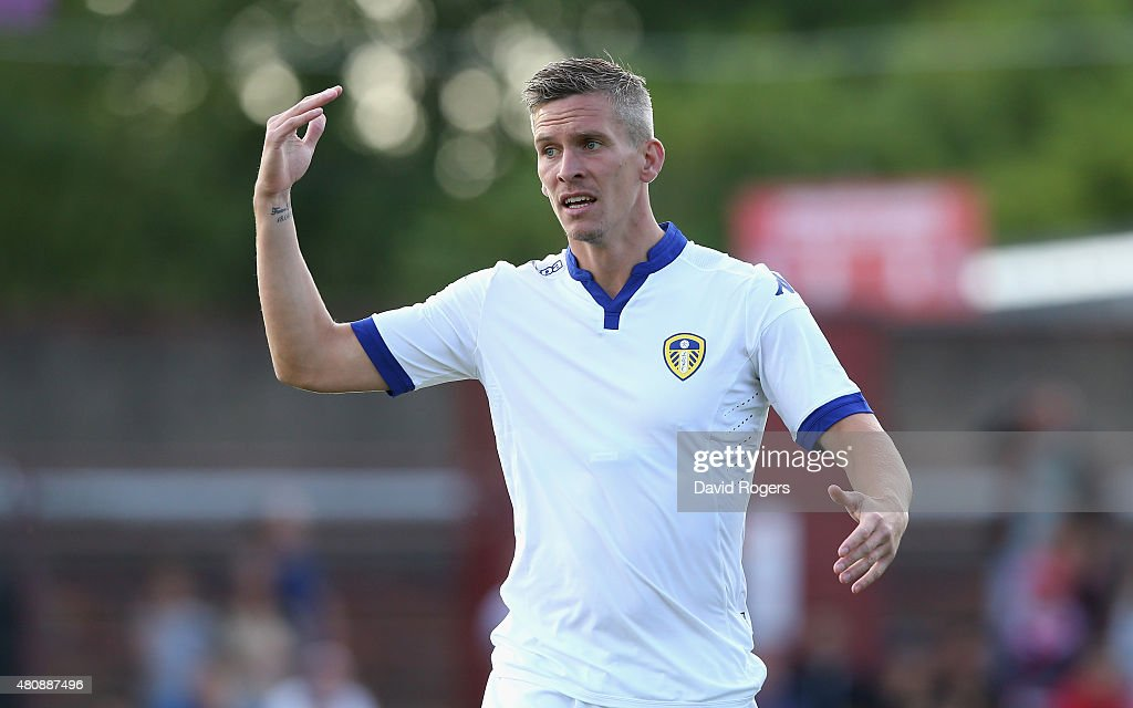 Steve Morison of Leeds United issues instructions during the pre season friendly match between York City and Leeds United at Bootham Crescent on July 15, 2015 in York, England.