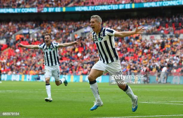 Steve Morison of Millwall celebrates as he he scores their first goal during the Sky Bet League One Playoff Final between Bradford City and Millwall...