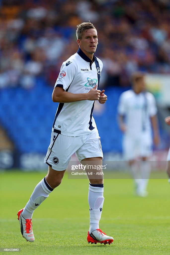 Steve Morison of Millwall during the Sky Bet League One match between Shrewsbury Town and Millwall at Greenhous Meadow on August 8, 2015 in Shrewsbury, England.
