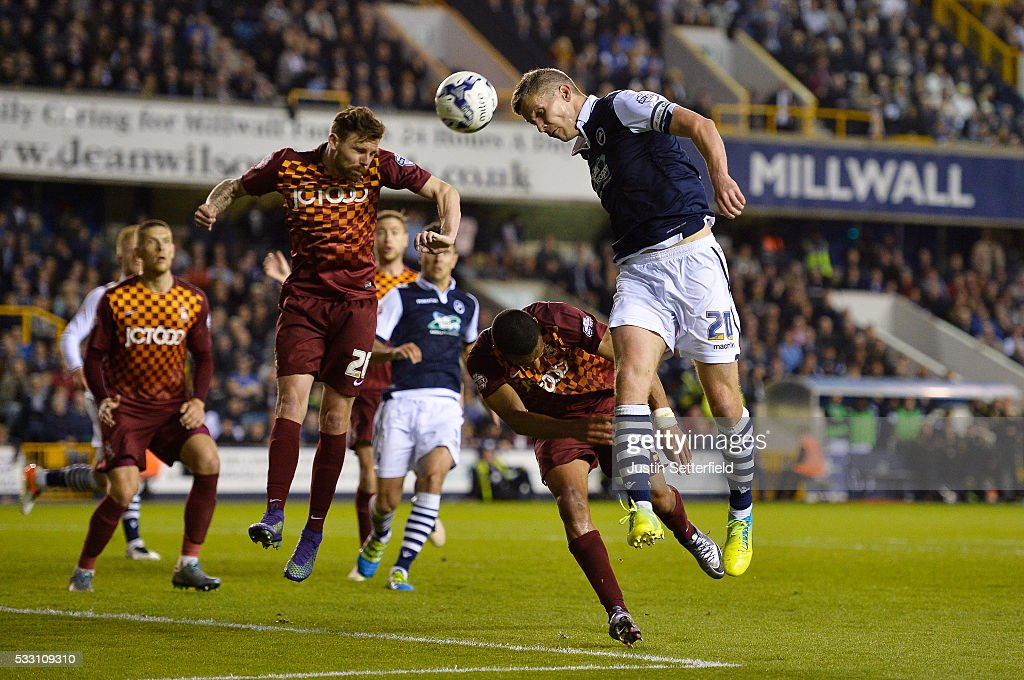 Steve Morison of Millwall FC has a header on goal during the Sky Bet League One Play Off: Second Leg between Millwall and Bradford City at The Den on May 20, 2016 in London, England.