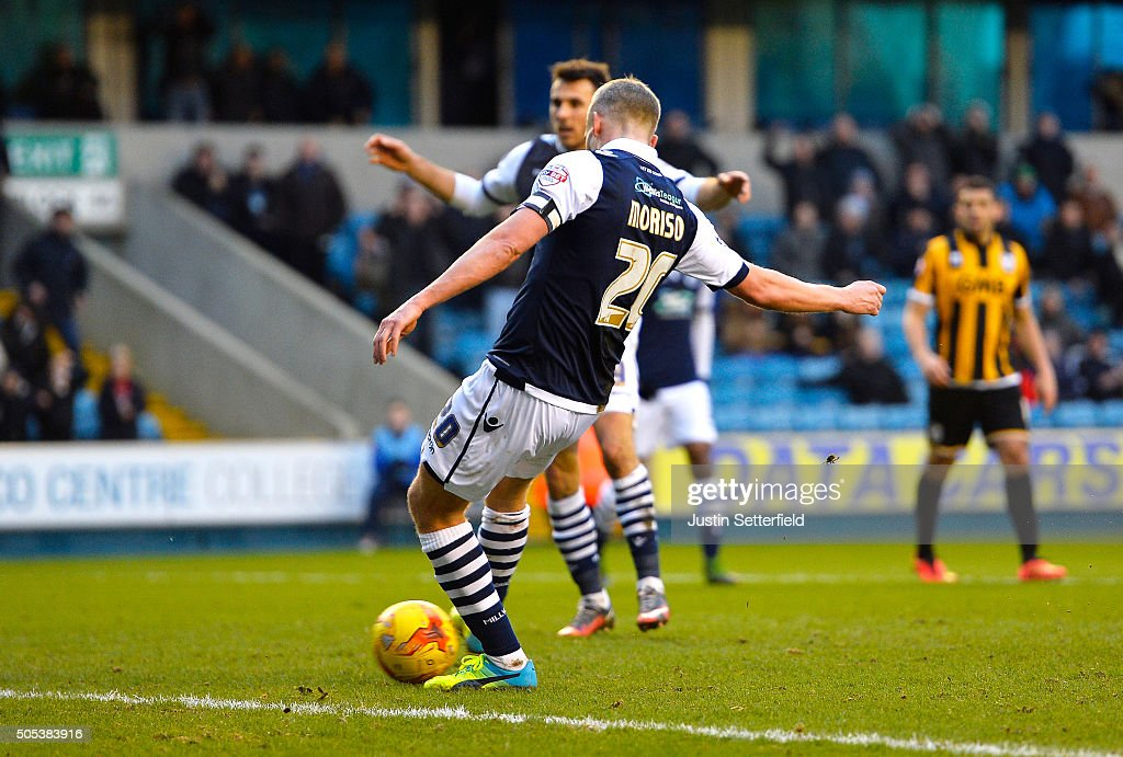 <a gi-track='captionPersonalityLinkClicked' href=/galleries/search?phrase=Steve+Morison+-+Voetballer&family=editorial&specificpeople=5483951 ng-click='$event.stopPropagation()'>Steve Morison</a> of Millwall FC scores the 3rd Millwall goal during the Sky Bet League One match between Millwall and Port Vale on January 17, 2016 in London, England.