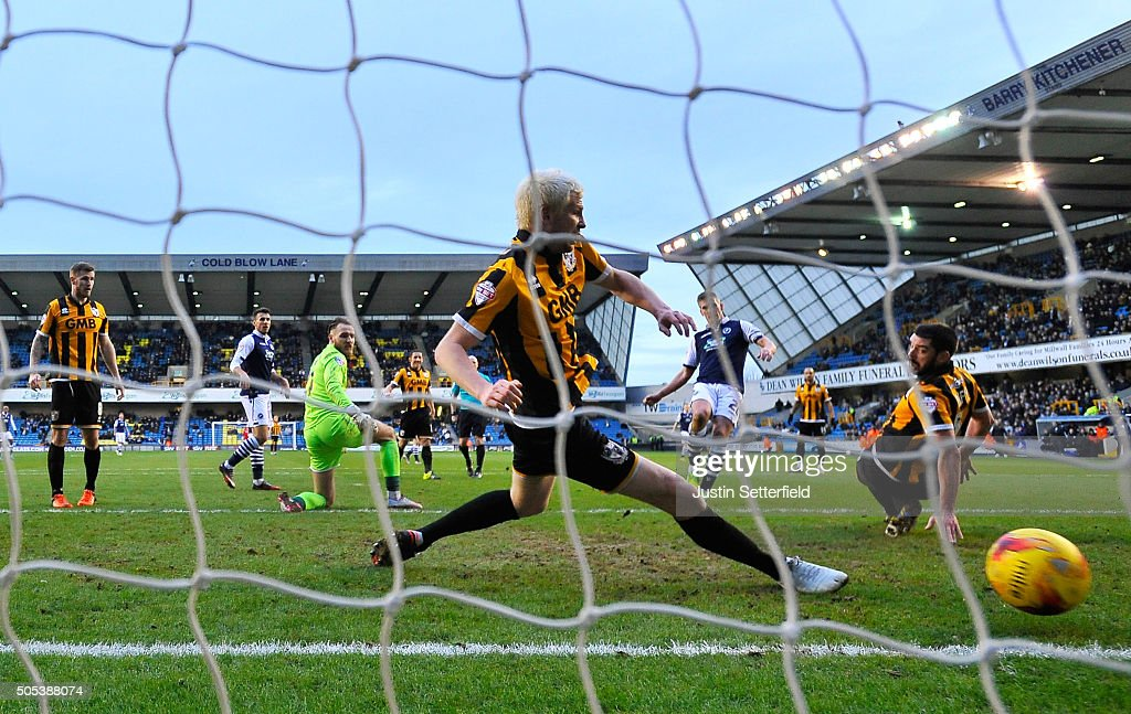 Steve Morison of Millwall FC scores the 3rd Millwall goal during the Sky Bet League One match between Millwall and Port Vale on January 17, 2016 in London, England.
