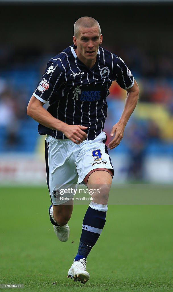 Steve Morison of Millwall in action during the Sky Bet Championship match between Millwall and Huddersfield Town at The Den on August 17, 2013 in London, England.