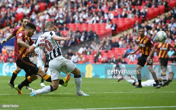Steve Morison of Millwall scores their first goal during the Sky Bet League One Playoff Final between Bradford City and Millwall at Wembley Stadium...