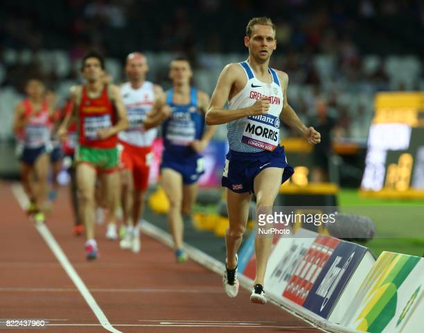 Steve Morris of Great Britain compete of Men's 1500m T20 Final during World Para Athletics Championships Day Three at London Stadium in London on...