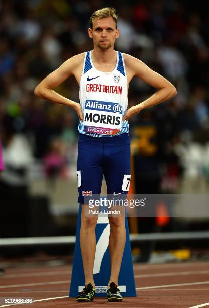 Steve Morris of Great Britain looks on during the final of the mens 800m T20 on day nine of the IPC World ParaAthletics Championships 2017 at London...