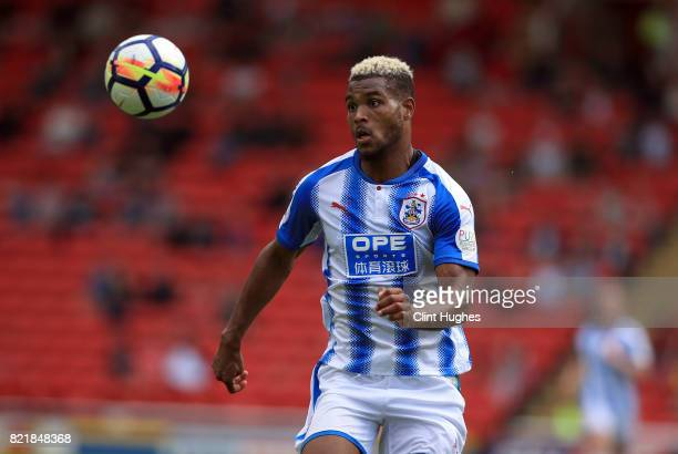 Steve Mounie of Huddersfield Town during the pre season friendly between Barnsley and Huddersfield Town at Oakwell Stadium on July 22 2017 in...