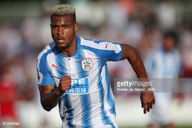 Steve Mounie of Huddersfield Town during the preseason friendly match between Accrington Stanley and Huddersfield Town at Wham Stadium on July 12...