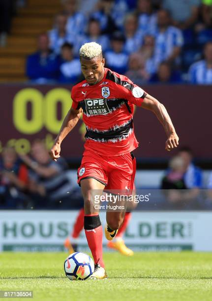 Steve Mounie of Huddersfield Town in action during the pre season friendly game against Bury at Gigg Lane on July 16 2017 in Bury England