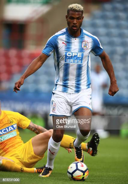 Steve Mounie of Huddersfield Town in action during the pre season friendly match between Huddersfield Town and Udinese at Galpharm Stadium on July 26...