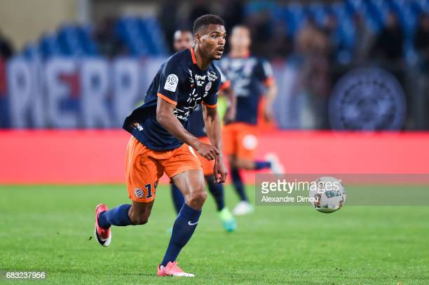 Steve Mounie of Montpellier during the Ligue 1 match between Montpellier and Olympique Lyonnais Lyon at Stade de la Mosson on May 14 2017 in...
