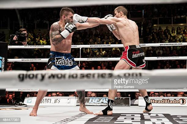 Steve Moxon and Niclas Larsen fight in the Glory Superfight Series on April 12 2014 in Istanbul Turkey