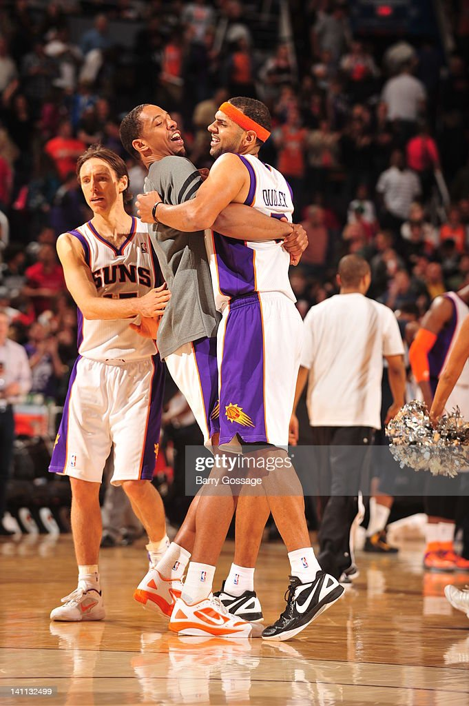 <a gi-track='captionPersonalityLinkClicked' href=/galleries/search?phrase=Steve+Nash+-+Basketball+Player&family=editorial&specificpeople=201513 ng-click='$event.stopPropagation()'>Steve Nash</a> #13 and Channing Frye #8 of the Phoenix Suns congratulate teammate <a gi-track='captionPersonalityLinkClicked' href=/galleries/search?phrase=Jared+Dudley&family=editorial&specificpeople=224071 ng-click='$event.stopPropagation()'>Jared Dudley</a> #3 as they defeat the Memphis Grizzlies 98-91 in an NBA game played on March 10, 2012 at U.S. Airways Center in Phoenix, Arizona.