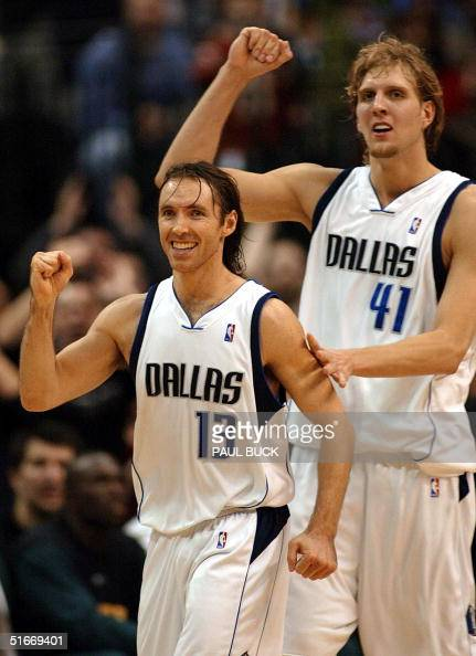 Steve Nash and Dirk Nowitzki of the Dallas Mavericks react to their comefrombehind win over the Seattle SuperSonics at American Airlines Center in...