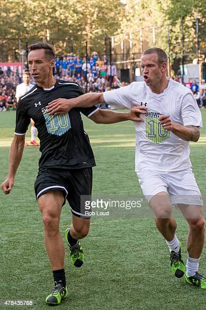 Steve Nash and Jay DeMerit compete during the Steve Nash Foundation Showdown at Sara D Roosevelt Park on June 24 2015 in New York City