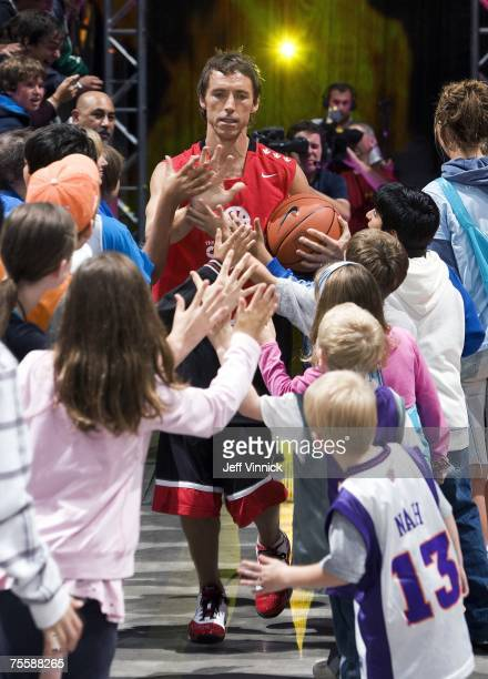 Steve Nash is greeted by young fans as he enters the court at the Steve Nash Charity Classic July 21 2007 at General Motors Place in Vancouver BC...