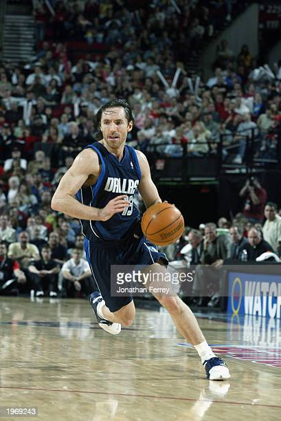 Steve Nash of the Dallas Mavericks drives toward the basket against the Portland Trail Blazers in Game four of the Western Conference Quarterfinals...
