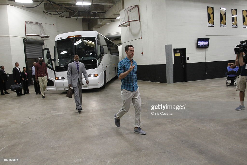 Steve Nash #10 of the Los Angeles Lakers arrives for the Game One of the Western Conference Quarterfinals between the Los Angeles Lakers and the San Antonio Spurs on April 21, 2013 at the AT&T Center in San Antonio, Texas.