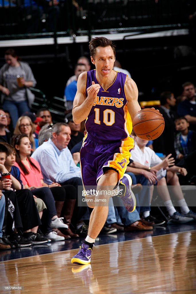 <a gi-track='captionPersonalityLinkClicked' href=/galleries/search?phrase=Steve+Nash&family=editorial&specificpeople=201513 ng-click='$event.stopPropagation()'>Steve Nash</a> #10 of the Los Angeles Lakers brings the ball up court against the Dallas Mavericks on February 24, 2013 at the American Airlines Center in Dallas, Texas.