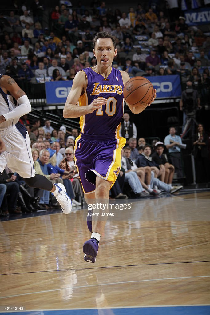 <a gi-track='captionPersonalityLinkClicked' href=/galleries/search?phrase=Steve+Nash+-+Basketball+Player&family=editorial&specificpeople=201513 ng-click='$event.stopPropagation()'>Steve Nash</a> #10 of the Los Angeles Lakers brings the ball up court against the Dallas Mavericks on November 5, 2013 at the American Airlines Center in Dallas, Texas.