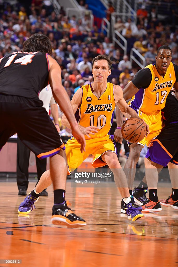<a gi-track='captionPersonalityLinkClicked' href=/galleries/search?phrase=Steve+Nash+-+Basketball+Player&family=editorial&specificpeople=201513 ng-click='$event.stopPropagation()'>Steve Nash</a> #10 of the Los Angeles Lakers dribbles the ball against the Phoenix Suns on March 18, 2013 at U.S. Airways Center in Phoenix, Arizona.