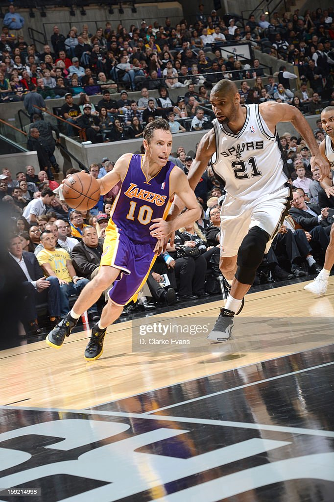 Steve Nash #10 of the Los Angeles Lakers drives against Tim Duncan #21 of the San Antonio Spurs during the game between the Los Angeles Lakers and the San Antonio Spurs on January 9, 2013 at the AT&T Center in San Antonio, Texas.