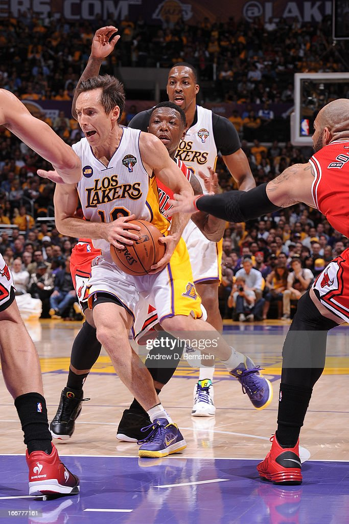 <a gi-track='captionPersonalityLinkClicked' href=/galleries/search?phrase=Steve+Nash+-+Basketball+Player&family=editorial&specificpeople=201513 ng-click='$event.stopPropagation()'>Steve Nash</a> #10 of the Los Angeles Lakers drives to the basket against the Chicago Bulls at Staples Center on March 10, 2013 in Los Angeles, California.