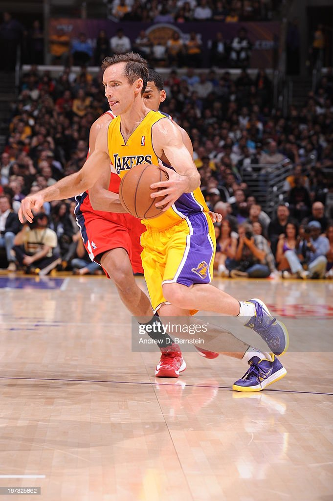 <a gi-track='captionPersonalityLinkClicked' href=/galleries/search?phrase=Steve+Nash&family=editorial&specificpeople=201513 ng-click='$event.stopPropagation()'>Steve Nash</a> #10 of the Los Angeles Lakers drives to the basket against the Washington Wizards at Staples Center on March 22, 2013 in Los Angeles, California.