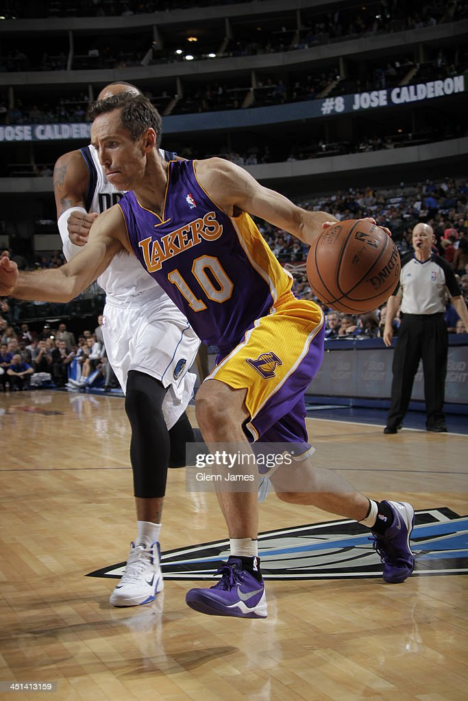 <a gi-track='captionPersonalityLinkClicked' href=/galleries/search?phrase=Steve+Nash+-+Basketball+Player&family=editorial&specificpeople=201513 ng-click='$event.stopPropagation()'>Steve Nash</a> #10 of the Los Angeles Lakers drives to the basket against the Dallas Mavericks on November 5, 2013 at the American Airlines Center in Dallas, Texas.