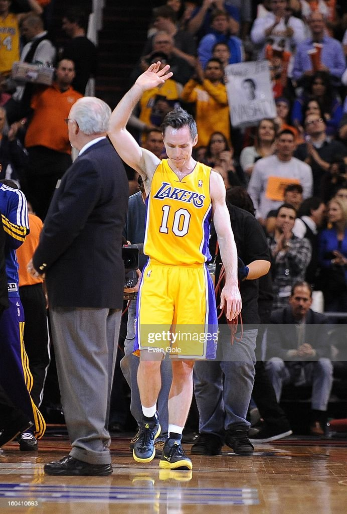 Steve Nash #10 of the Los Angeles Lakers enters the court during the game between the Los Angeles Lakers and the Phoenix Suns at US Airways Center on January 30, 2013 in Phoenix, Arizona.