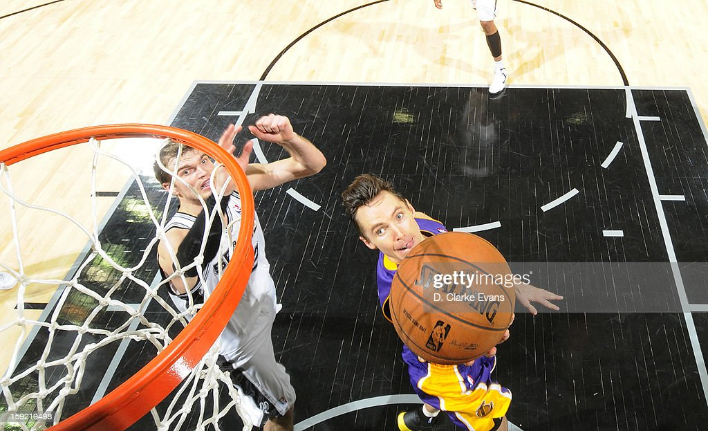 <a gi-track='captionPersonalityLinkClicked' href=/galleries/search?phrase=Steve+Nash&family=editorial&specificpeople=201513 ng-click='$event.stopPropagation()'>Steve Nash</a> #10 of the Los Angeles Lakers goes to the basket during the game between the Los Angeles Lakers and the San Antonio Spurs on January 9, 2013 at the AT&T Center in San Antonio, Texas.
