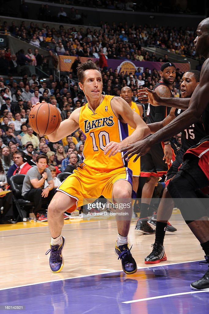 <a gi-track='captionPersonalityLinkClicked' href=/galleries/search?phrase=Steve+Nash+-+Basketball+Player&family=editorial&specificpeople=201513 ng-click='$event.stopPropagation()'>Steve Nash</a> #10 of the Los Angeles Lakers handles the ball against the Miami Heat at Staples Center on January 17, 2013 in Los Angeles, California.