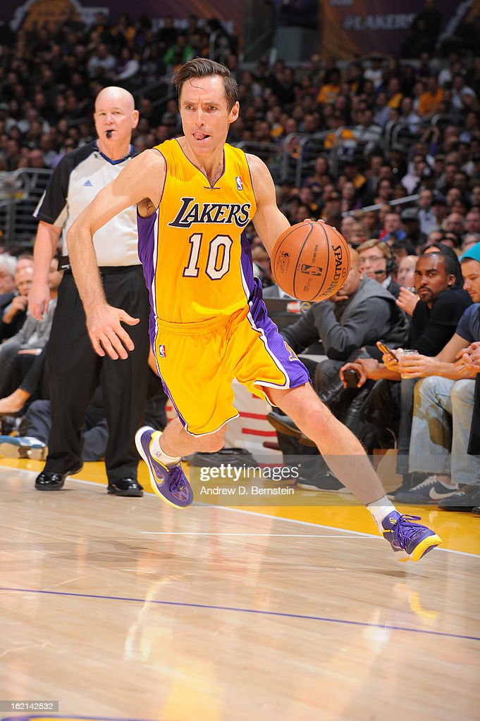 <a gi-track='captionPersonalityLinkClicked' href=/galleries/search?phrase=Steve+Nash+-+Basquetebolista&family=editorial&specificpeople=201513 ng-click='$event.stopPropagation()'>Steve Nash</a> #10 of the Los Angeles Lakers handles the ball against the Miami Heat at Staples Center on January 17, 2013 in Los Angeles, California.