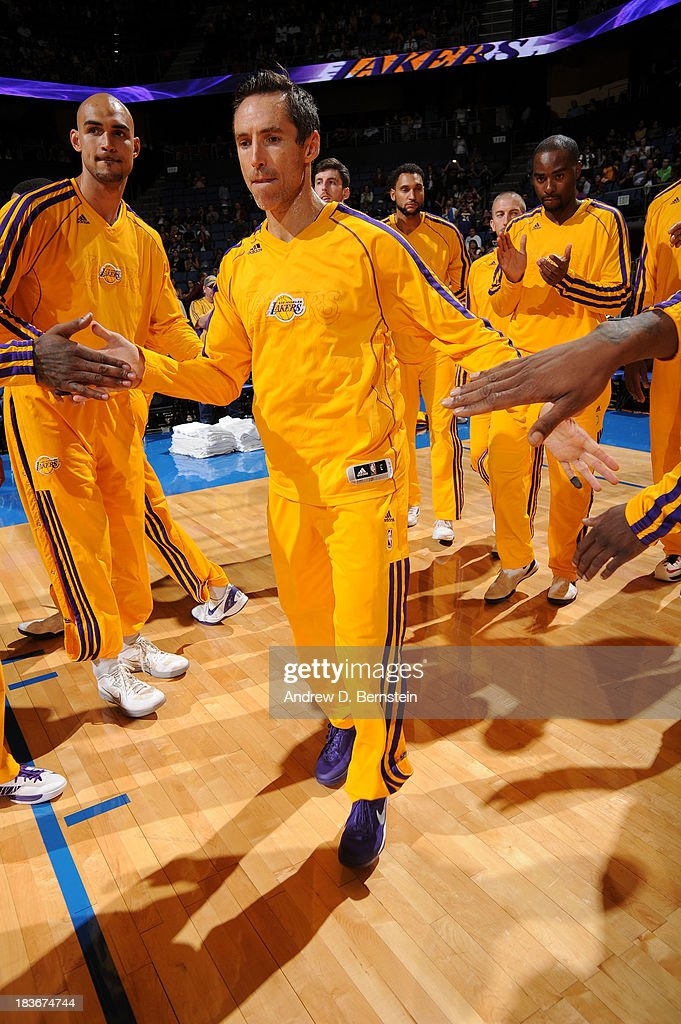 <a gi-track='captionPersonalityLinkClicked' href=/galleries/search?phrase=Steve+Nash+-+Basketball+Player&family=editorial&specificpeople=201513 ng-click='$event.stopPropagation()'>Steve Nash</a> #10 of the Los Angeles Lakers is introduced prior to the game against the Denver Nuggets at Citizens Business Bank Arena on October 8, 2013 in Ontario, California.