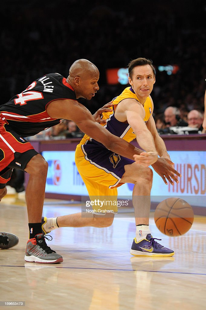 Steve Nash #10 of the Los Angeles Lakers passes against Ray Allen #34 of the Miami Heat at Staples Center on January 15, 2013 in Los Angeles, California.