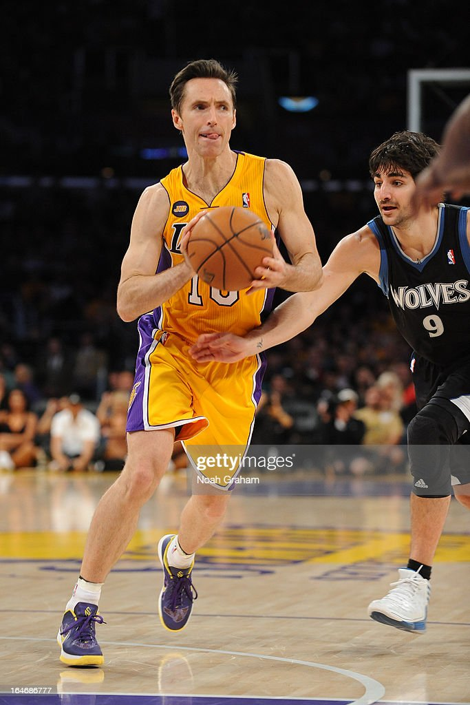 <a gi-track='captionPersonalityLinkClicked' href=/galleries/search?phrase=Steve+Nash+-+Basketball+Player&family=editorial&specificpeople=201513 ng-click='$event.stopPropagation()'>Steve Nash</a> #10 of the Los Angeles Lakers passes the ball against the Minnesota Timberwolves at Staples Center on February 28, 2013 in Los Angeles, California.